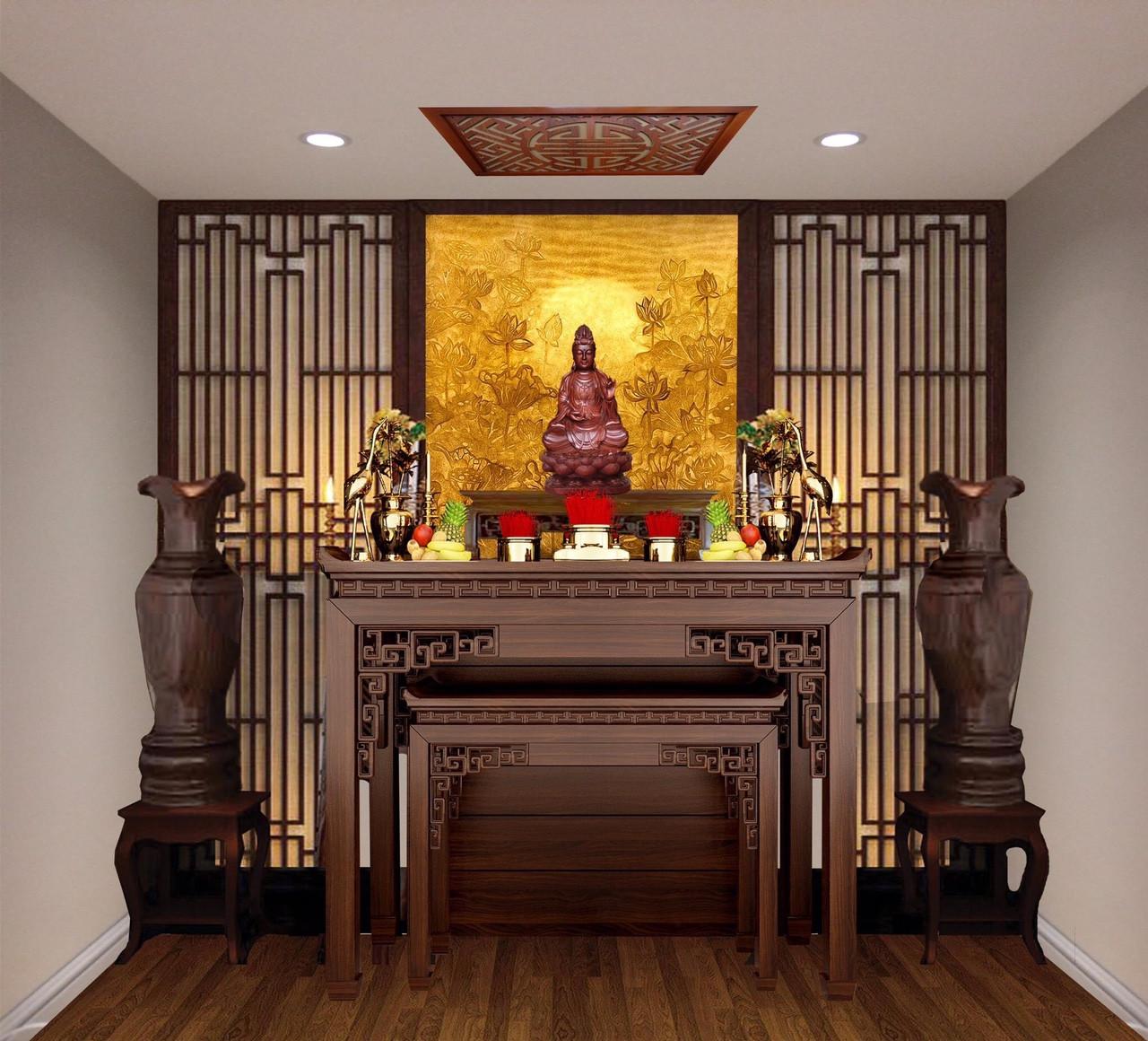 Những mẫu thiết kế phòng thờ giữa nhà đẹp, linh thiêng nhất