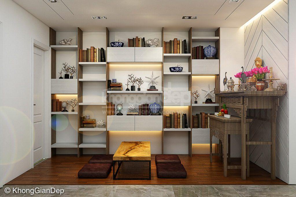 Thiết kế phòng thờ trong phòng đọc sách hiện đại, linh thiêng nhất
